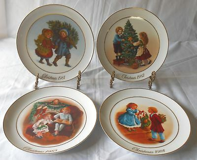 Avon Christmas Memories Porcelain Collector's Plates Vintage Set Of 4 1981-1984