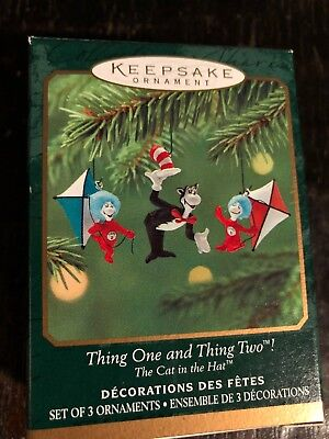 2001 Hallmark Miniature Ornament NIB ~ Thing One and Thing Two, Cat in the Hat
