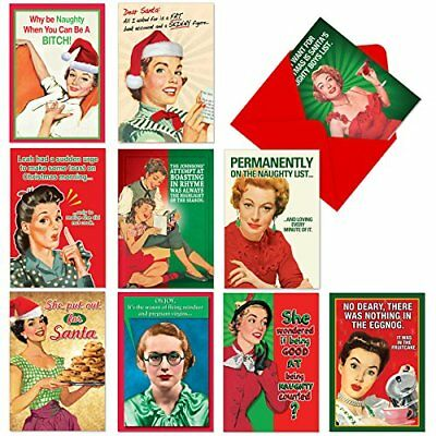 10 Boxed Funny Christmas Cards With Envelopes 4-5/8'' x 6-3/4'' - Vintage is - &