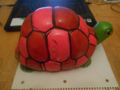 Vintage 1969 Holiday Fair  Hippie Style Neon Pink And Green Turtle Bank