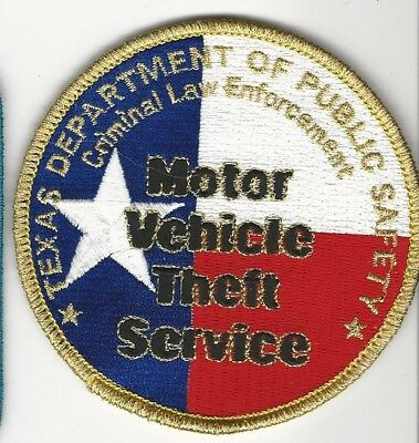 Texas DPS State Police Motor Veh Theft Serv patch TX