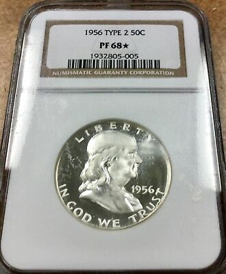 1956 Type 2  FRANKLIN  SILVER Proof Half Dollar NGC PF 68 ⭐️ Obverse cameo