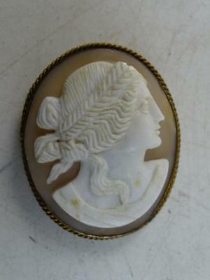 """Antique Carved Shell Cameo Pin Brooch Romanesque Victorian 1800s Vintage 2"""" Tall"""
