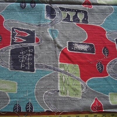 70cm x 58cm MCM Classic Grey Red Barkcloth Vintage cotton curtain fabric 1950s