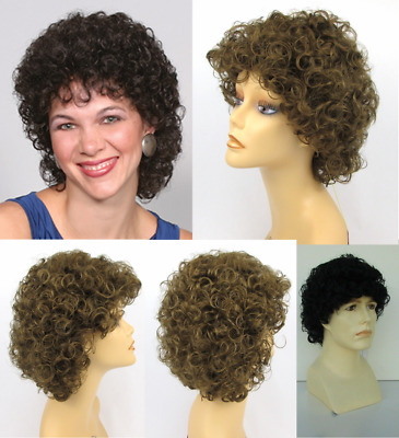 70S 80S Adult Unisex Med Curls Curly Layered Chin Length Afro Costume Wig Nola