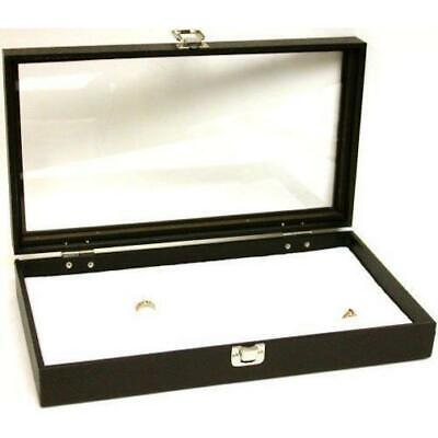 72 Slot White Ring Display Glass Top Case Jewelry Tray