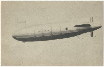 1930s Postcard of Dirigible USS Akron Airship Over Lakehurst, N.J.