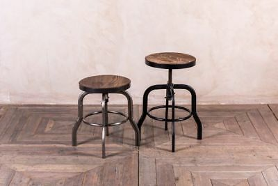 Low Machinist Style Metal Stools Height Adjustable Dining Stools