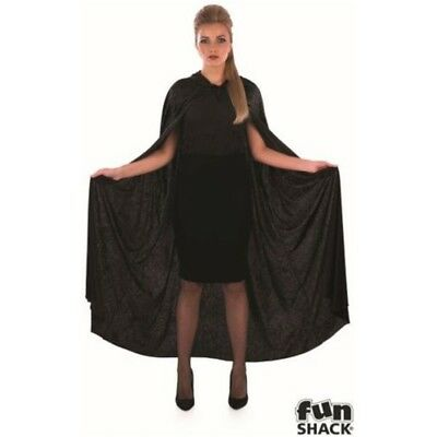 Black Velour Hooded Cape - Vampire Halloween Fancy Dress Costume Mens Ladies
