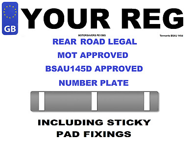 Car Number Plate - GB Euro Single Front  - Road Legal Inc Sticky Pads