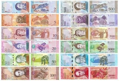 Venezuela 2 - 20000 Bolivares Set of 12 Banknotes 12 pcs All Mint UNC
