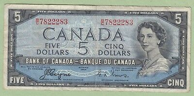 1954 Bank of Canada 5 Dollar Devil's Face Note - Coyne/Towers - B/C7822283 -Fine
