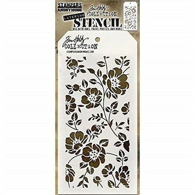 "Stampers Anonymous Tim Holtz Layered Stencil 4.125""x8.5""-floral - Layering"