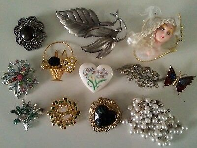Job Lot of Vintage Brooches 1940s, Serpentine, Butterfly, Scottish Heather, Deco