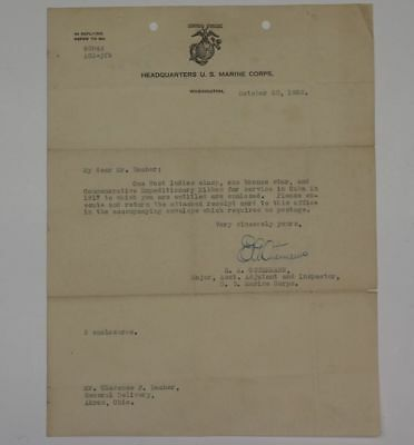 1923 Marine Corps Document From Medal Of Honor Recipient Gen. E.a. Ostermann