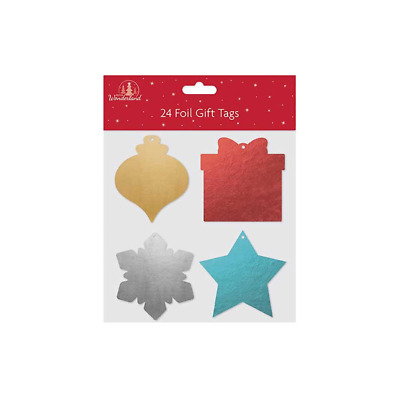 Set Of 24 Foil Shaped Gift Tags Ideal For Christmas 4 Diff Shapes & Colours