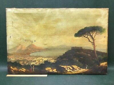 Large Original Antique Oil Painting on Canvas Italian Landscape ~ As Is