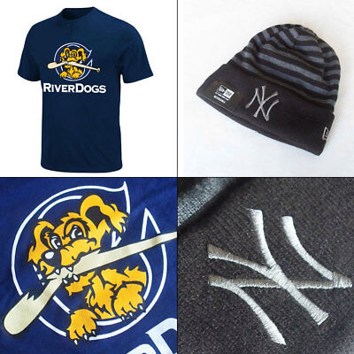Charleston River Dogs YOUTH MiLB 2 Button T shirt + Yankees Reversible Knit Hat