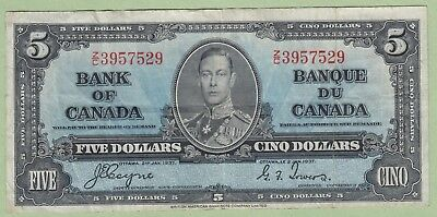 1937 Bank of Canada 5 Dollar Note - Coyne/Towers - Z/C3957529 - VF