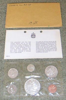 Vintage Canada 1965 Six Coin Sealed Silver Mint Set w/ Envelope Canadian Coins