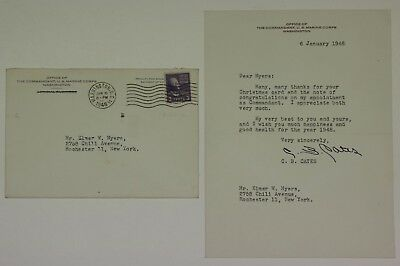 1948 Wwii Era Usmc Marine Corps Letter From Commandant Clifton B. Cates