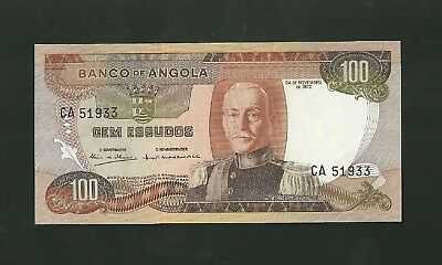 1972 Angola 100 Escudos Currency Note Pick #101 Paper Money Gem Escudos