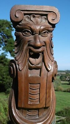 SUPERB 19thc GOTHIC OAK WOOD GARGOYLE CARVING WITH FRUITS & SWAGS C.1860's