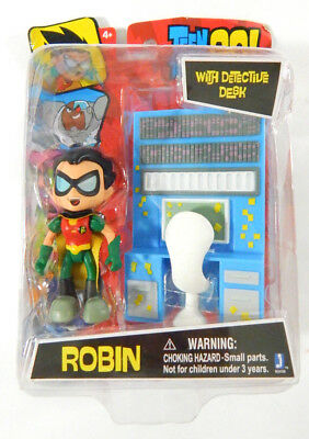 "Jazwares Teen Titans GO! Robin with Detective Desk DC Comics 3"" Figure Toy"