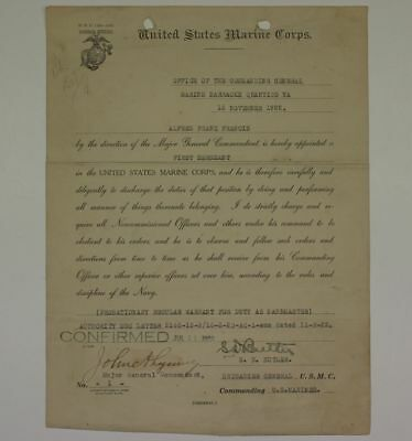 1922 Post Wwi Marine Corps Paper Signed By Smedley Butler And John Legeune