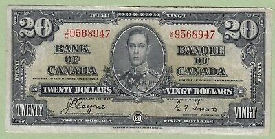1937 Bank of Canada 20 Dollar Note - Coyne/Towers - J/E9568947 - VF