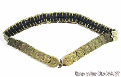 "Antique Ottoman metal belt 31"" waist ethnic folk costume jewelry tribal Turkish"