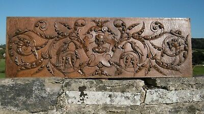 STUNNING LARGE 19thc GOTHIC OAK PANEL WITH GARGOYLES BIRD & MALE HEAD CARVINGS