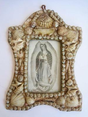 """Our Lady of Guadalupe Framed Sea Shells Mexico 10""""x7"""" Nuestra Senora Virgin Mary"""
