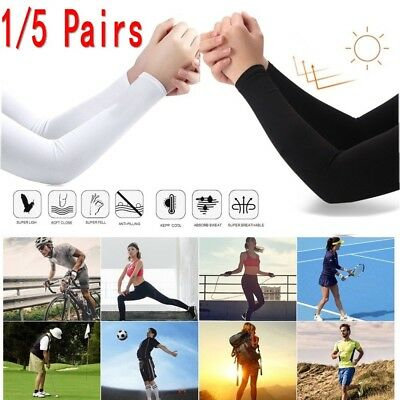 1/5 Pairs Cooling Arm Sleeves Cover UV Sun Protection Basketball Outdoor Sport