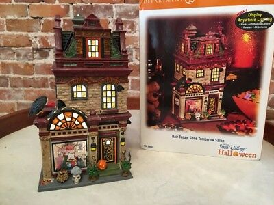 Dept 56 Hair Today Gone Tomorrow Salon Halloween Snow Village Mint