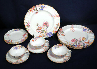 Spode Copeland's China Chelsea Garden 13 pcs. Luncheon Plate Cup + Saucer Bread