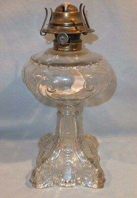 Old Clear Princess feather Table Oil Lamp