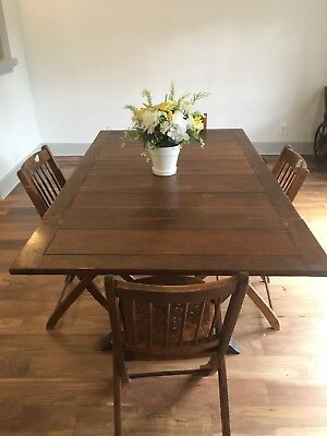 Antique Oak Dining Table with Draw Leaf and 4 Chairs