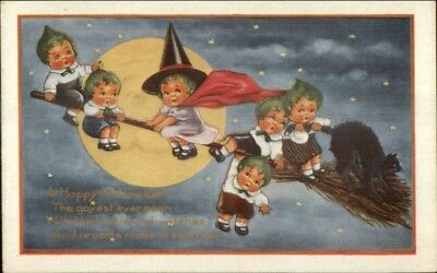 Halloween Whitney Pumpkin Kids Witch Flying on Broom Moon Postcard EXC COND