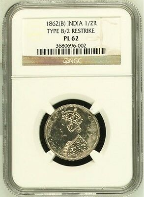 British India 1862-B 1/2 Half Rupee Proof Restrike NGC PL-62