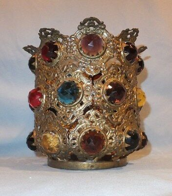 1870 - 1900 Victorian B&H Brass Jeweled Banquet oil Lamp Shade