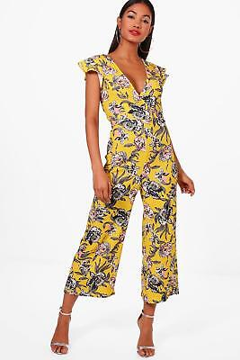 5118ee9fd752b Boohoo Womens Frill Shoulder Floral Print Culotte Jumpsuit in Yellow size 4
