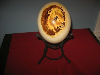 """HAND PAINTED  Large ~ 6"""" African OSTRICH EGG Lion on Stand"""