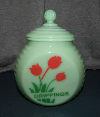 """JADEITE GLASS COVERED """"DRIPPINGS"""" JAR Canister w RED TULIPS Round Flat Front"""