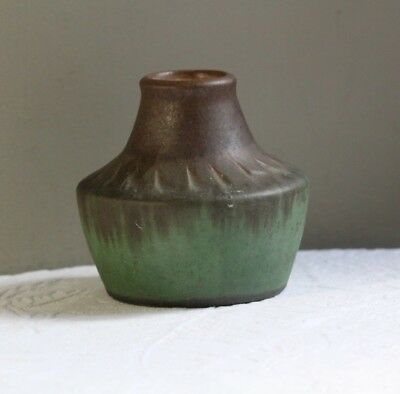 Antique Early 20thC Carved Matte Brown & Green Arts & Crafts Pottery Vase