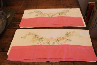 Pair of Vintage Embroidered Pillowcases with Tiny Pink Flowers and Green Leaves