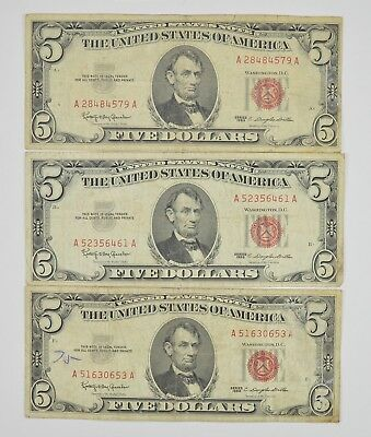 Lot of 3 - RED SEAL - $5.00 United States Notes - 1963 Lot Collection *707