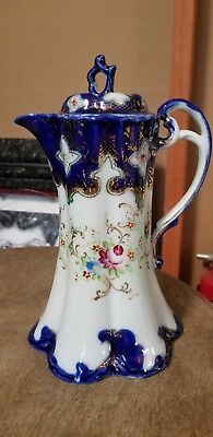 Antique AMERICAN German FLOW BLUE 24K Gold Floral Demitasse Coffee Pot Daisies