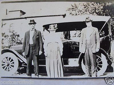 Rppc Three People Posing In Front Of An Old Jalopy Auto Real Cyko Photo Postcard