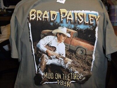 Brad Paisley Tee Shirt XL Mud on the Tires Tour Olive Green